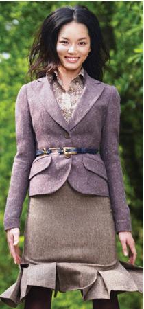 More purple tweed suit!