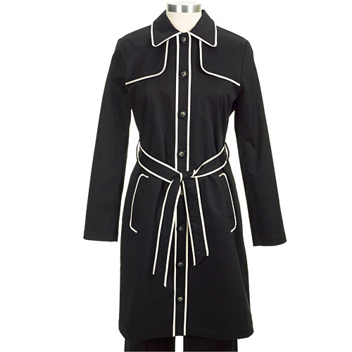 Black trench with white piping